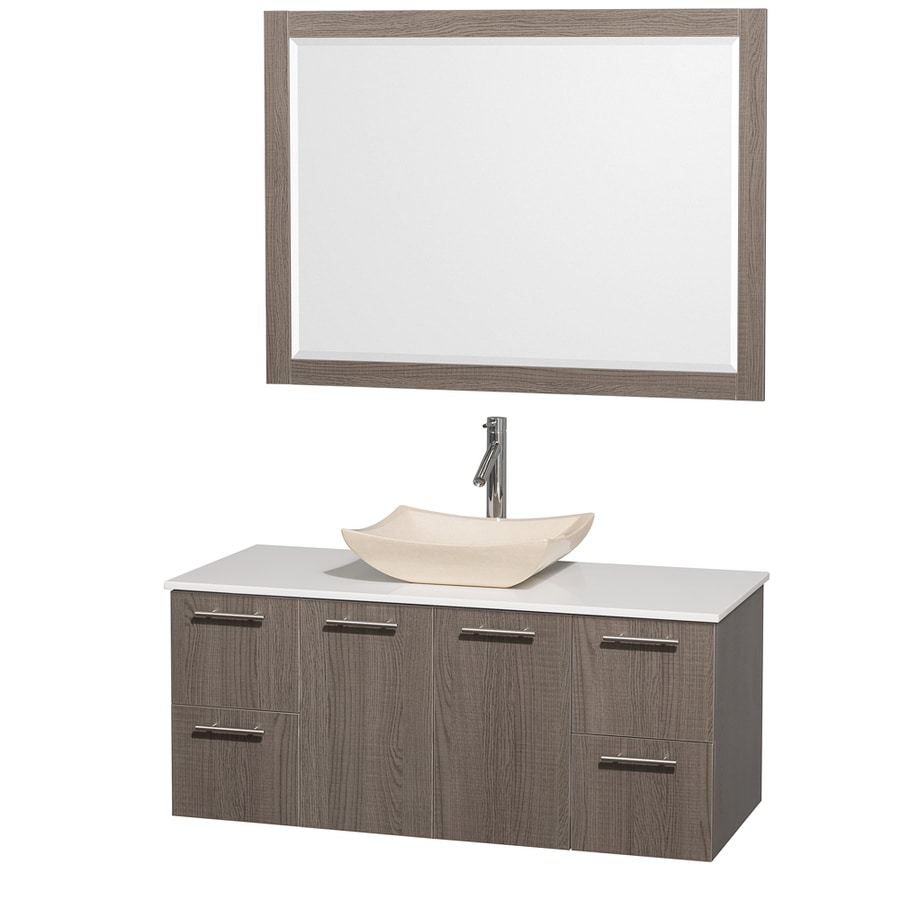 Wyndham Collection Amare Grey Oak (Common: 48-in x 22-in) Vessel Single Sink Bathroom Vanity with Engineered Stone Top (Mirror Included) (Actual: 48-in x 21.75-in)