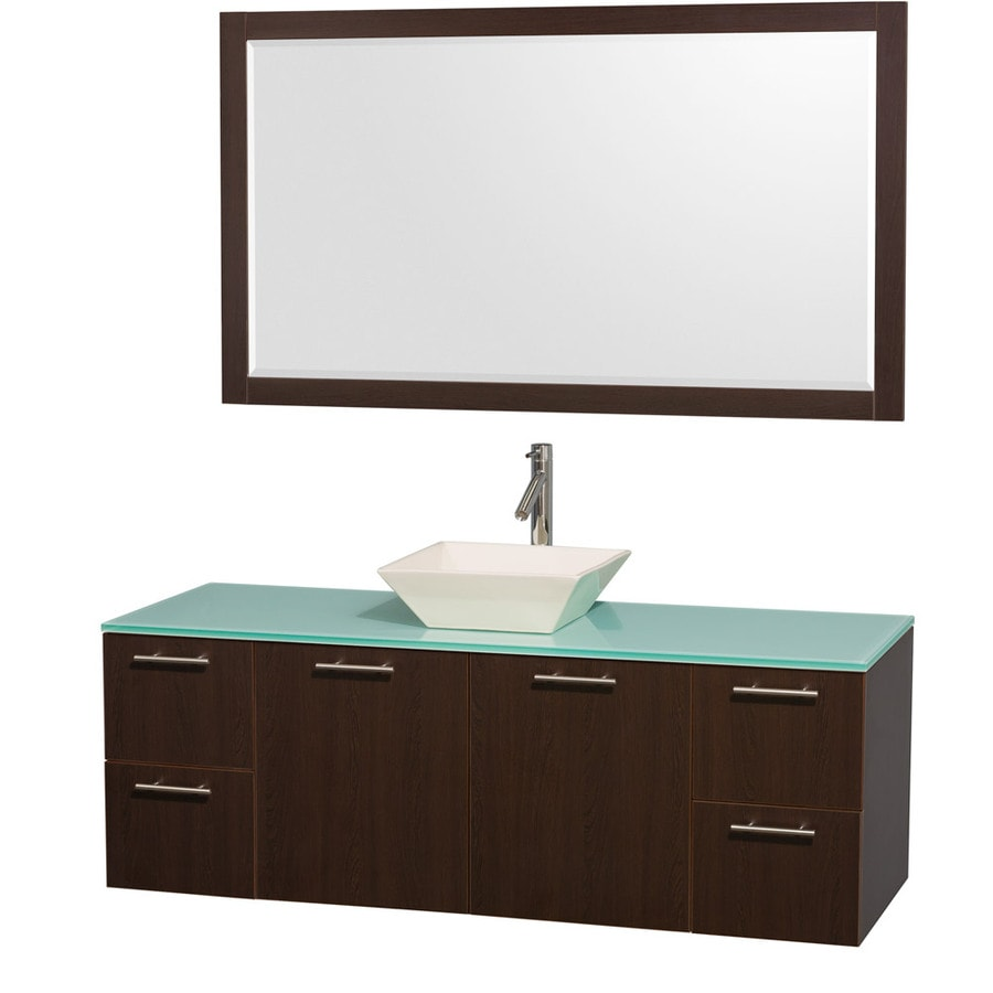 Wyndham Collection Amare Espresso 60-in Vessel Single Sink Bathroom Vanity with Tempered Glass and Glass Top (Mirror Included)