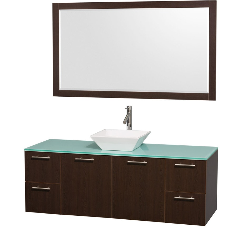 Wyndham Collection Amare Espresso Single Vessel Sink Bathroom Vanity with Tempered Glass and Glass Top (Common: 60-in x 22-in; Actual: 60-in x 22.25-in)