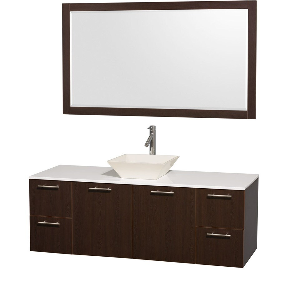 60 in vessel single sink bathroom vanity with engineered stone top