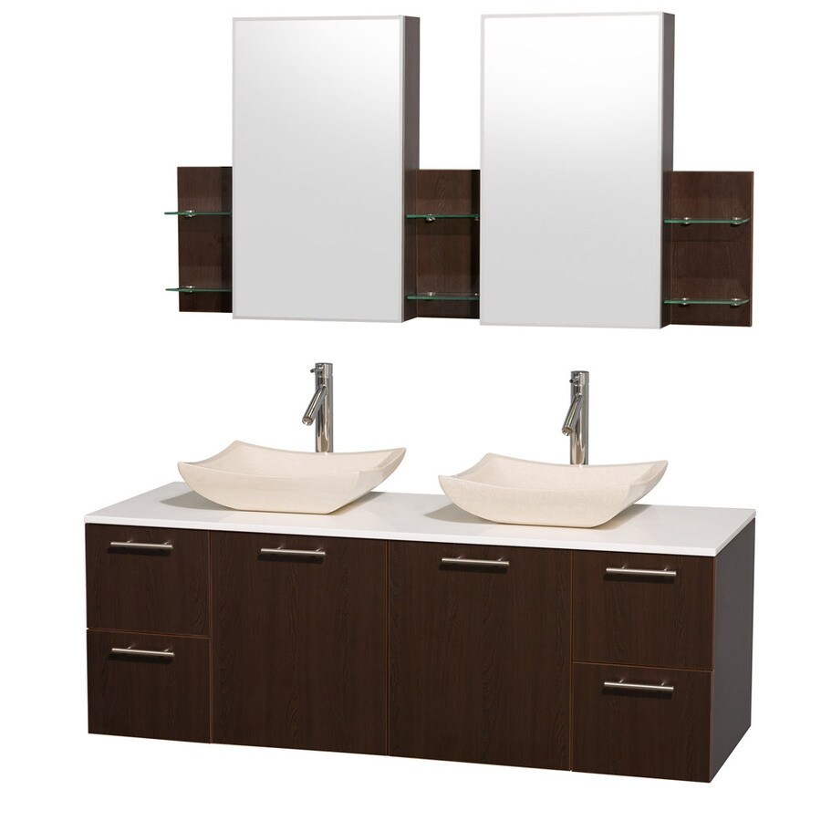 Wyndham Collection Amare Espresso Double Vessel Sink Bathroom Vanity with Engineered Stone Top (Common: 60-in x 22-in; Actual: 60-in x 22.25-in)