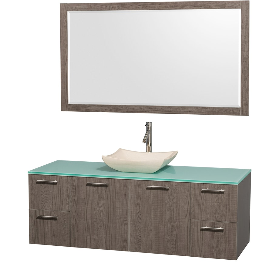 Wyndham Collection Amare Grey Oak (Common: 60-in x 22-in) Vessel Single Sink Bathroom Vanity with Tempered Glass and Glass Top (Mirror Included) (Actual: 60-in x 22.25-in)