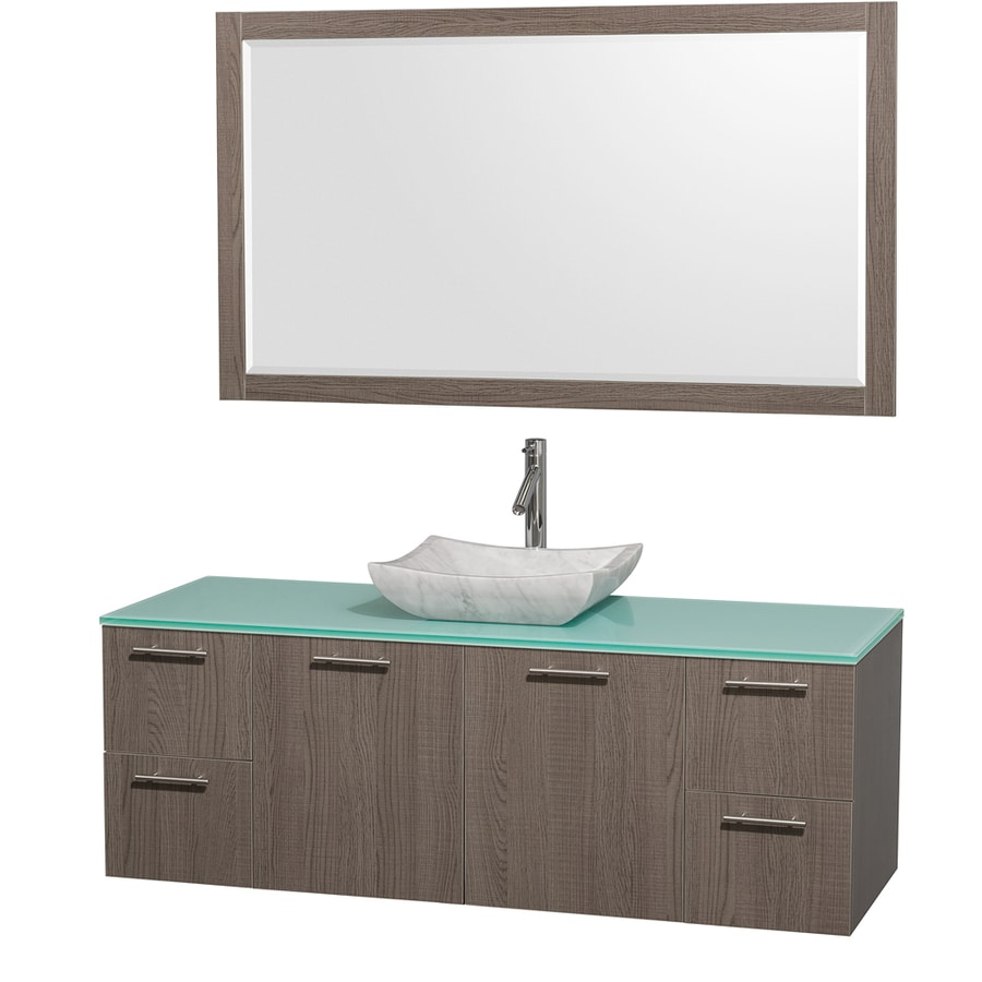 Wyndham Collection Amare Grey Oak Single Vessel Sink Bathroom Vanity with Tempered Glass and Glass Top (Common: 60-in x 22-in; Actual: 60-in x 22.25-in)
