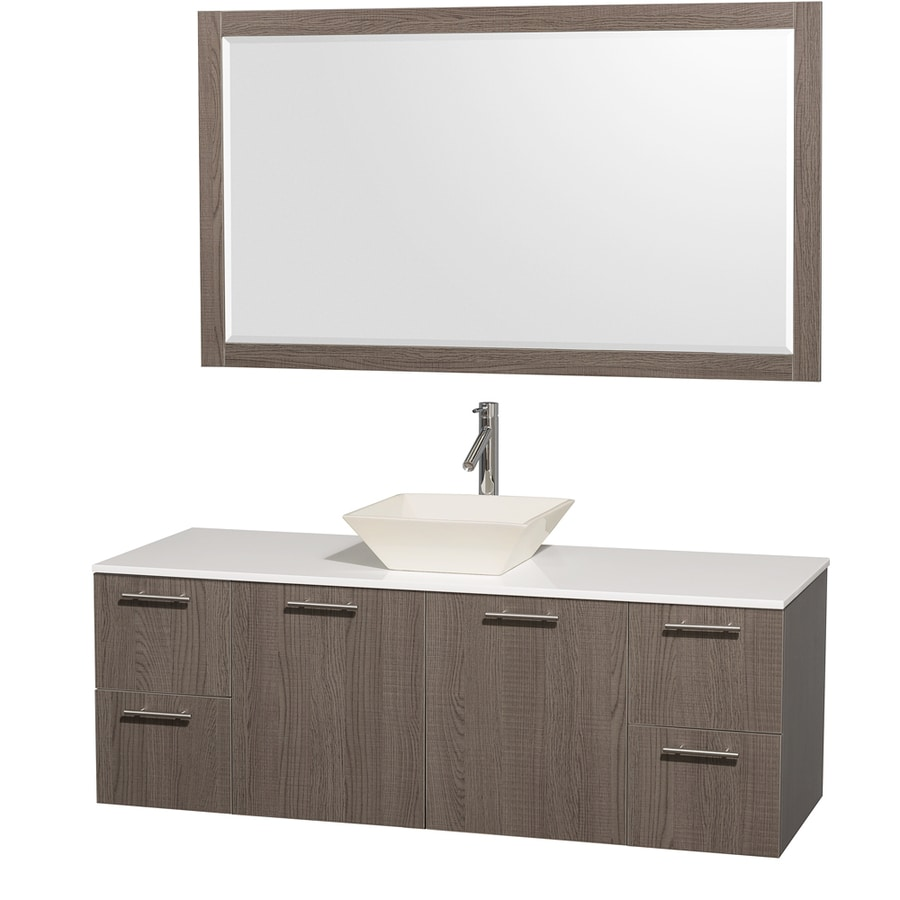 Wyndham Collection Amare Grey Oak Single Vessel Sink Bathroom Vanity with Engineered Stone Top (Common: 60-in x 22-in; Actual: 60-in x 22.25-in)