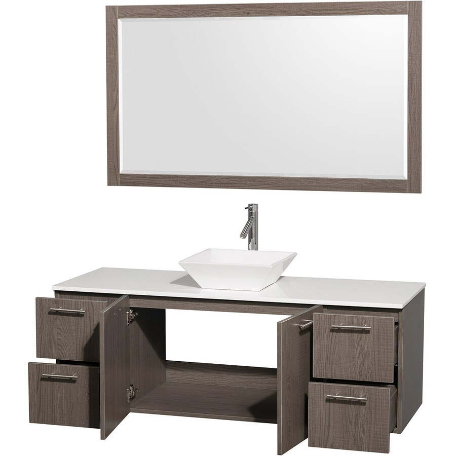 Wyndham Collection Amare Gray Oak (Common: 60-in x 23-in) Vessel Single Sink Bathroom Vanity with Engineered Stone Top (Mirror Included) (Actual: 60-in x 22.25-in)