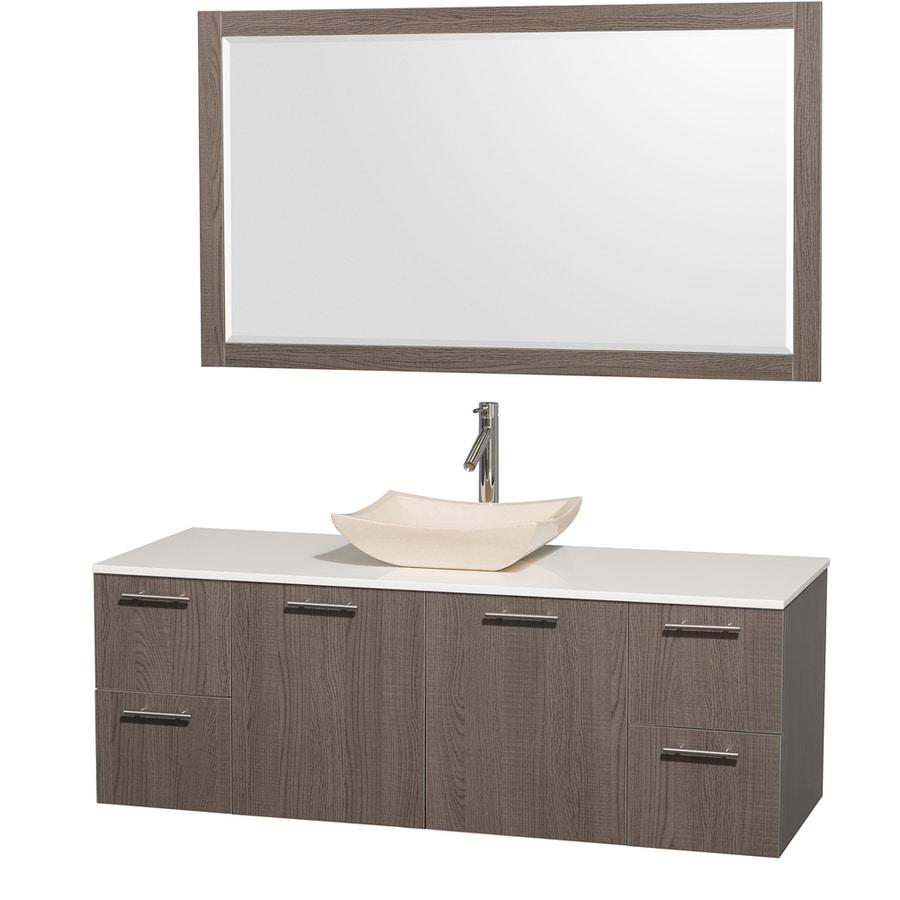 Wyndham Collection Amare Grey Oak (Common: 60-in x 22-in) Vessel Single Sink Bathroom Vanity with Engineered Stone Top (Mirror Included) (Actual: 60-in x 22.25-in)