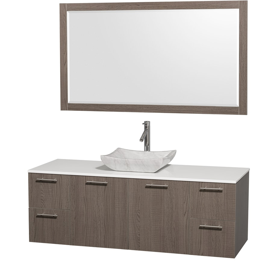 Wyndham Collection Amare Grey Oak 60-in Vessel Single Sink Bathroom Vanity with Engineered Stone Top (Mirror Included)