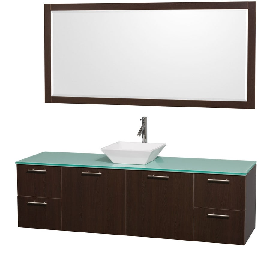 Wyndham Collection Amare Espresso (Common: 72-in x 22-in) Vessel Single Sink Bathroom Vanity with Tempered Glass and Glass Top (Mirror Included) (Actual: 72-in x 22.25-in)