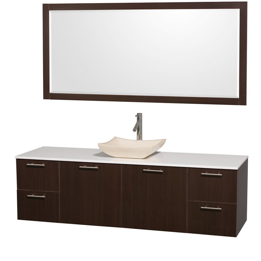 Wyndham Collection Amare Espresso Single Vessel Sink Bathroom Vanity with Engineered Stone Top (Common: 72-in x 22-in; Actual: 72-in x 22.25-in)
