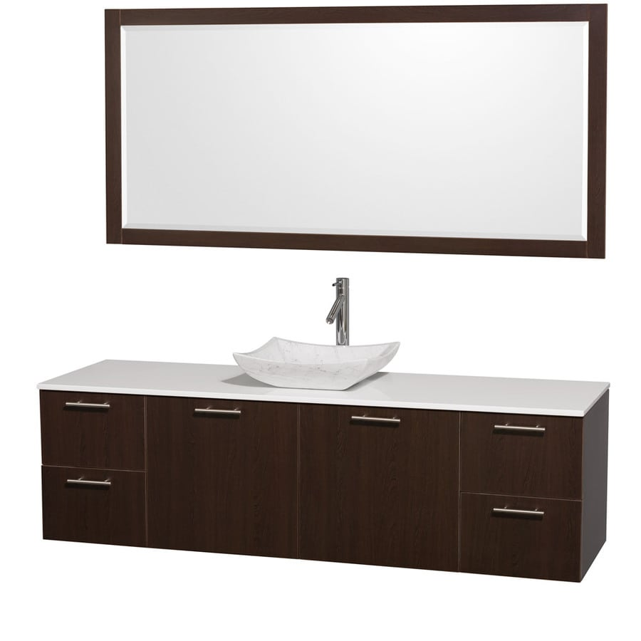 Wyndham Collection Amare Espresso 72-in Vessel Single Sink Bathroom Vanity with Engineered Stone Top (Mirror Included)