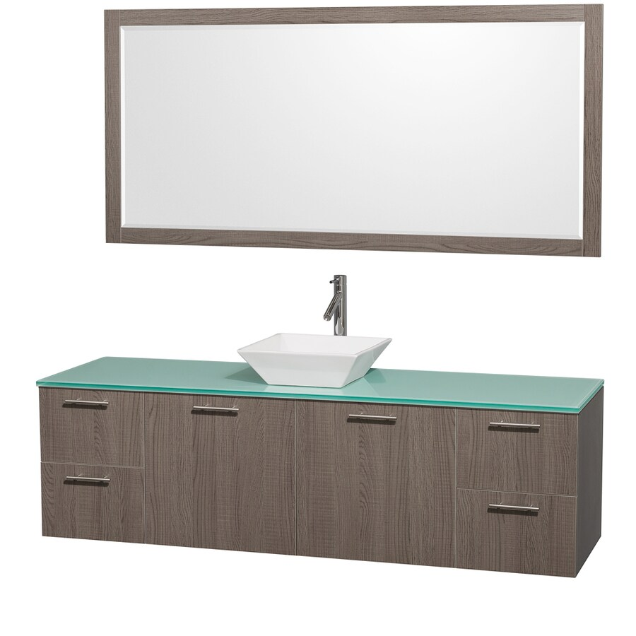 Wyndham Collection Amare Grey Oak (Common: 72-in x 22-in) Vessel Single Sink Bathroom Vanity with Tempered Glass and Glass Top (Mirror Included) (Actual: 72-in x 22.25-in)