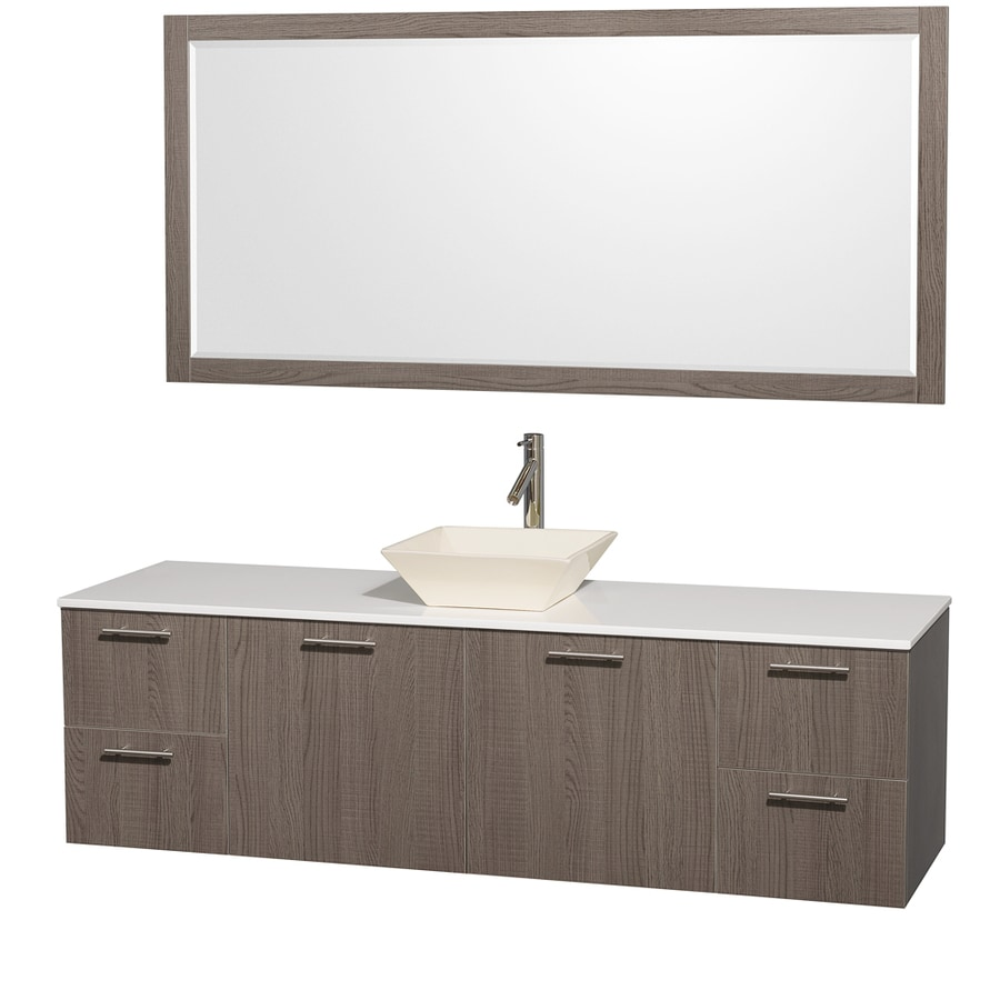 Wyndham Collection Amare Grey Oak (Common: 72-in x 22-in) Vessel Single Sink Bathroom Vanity with Engineered Stone Top (Mirror Included) (Actual: 72-in x 22.25-in)