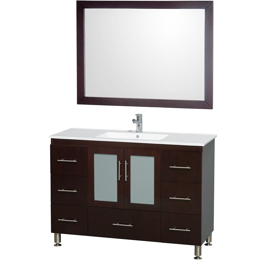 Wyndham Collection Katy Espresso 48-in Integral Single Sink Birch Bathroom Vanity with Vitreous China Top (Mirror Included)