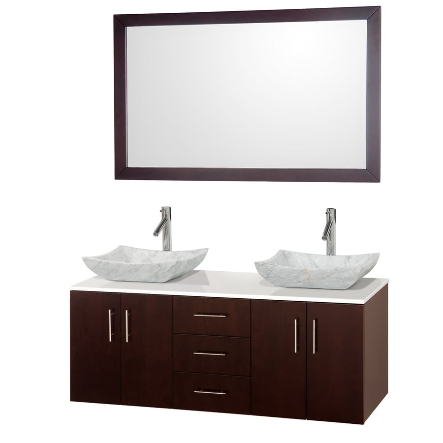 Wyndham Collection Arrano Espresso Double Vessel Sink Bathroom Vanity with Engineered Stone Top (Common: 55-in x 21-in; Actual: 55-in x 21-in)