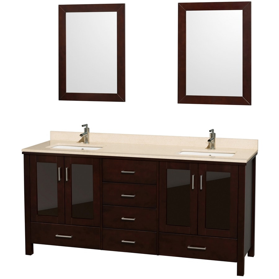 Wyndham Collection Lucy Espresso Undermount Double Sink Bathroom Vanity with Natural Marble Top (Common: 72-in x 23-in; Actual: 72-in x 22.75-in)