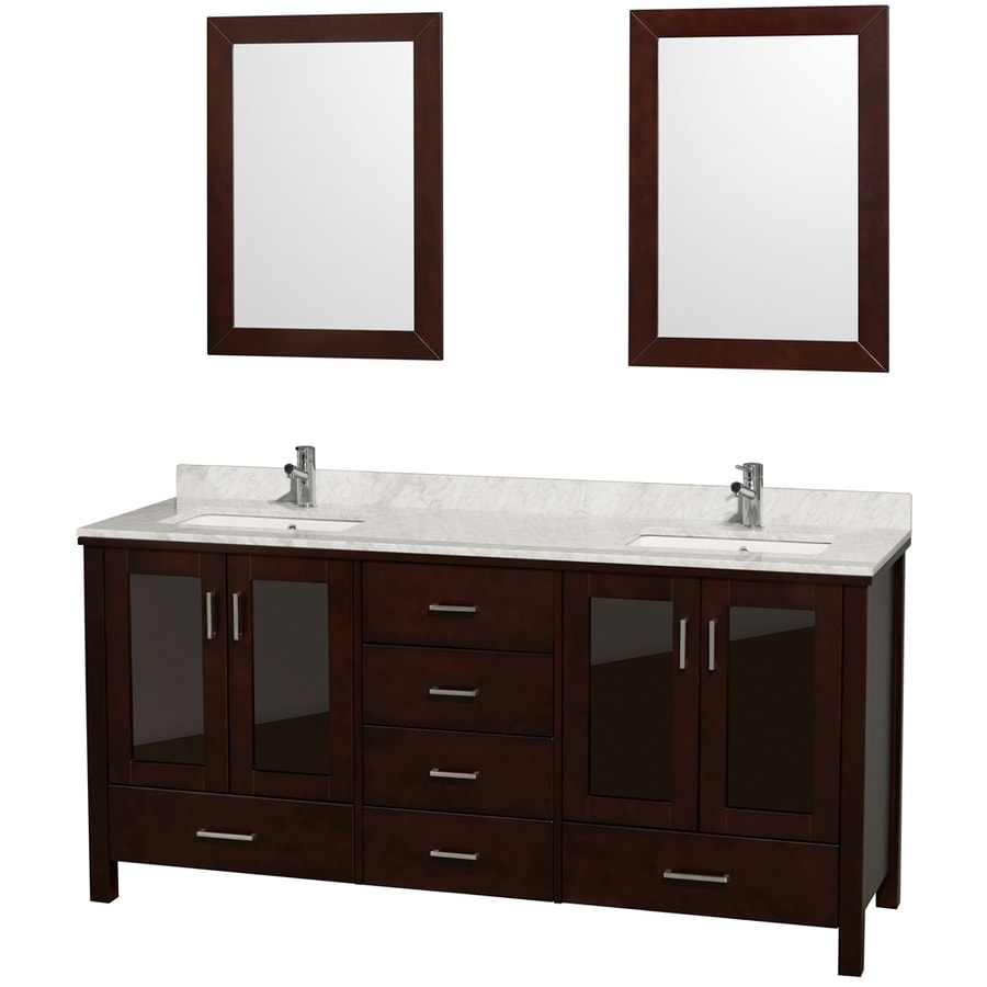 Wyndham Collection Lucy Espresso (Common: 72-in x 23-in) Undermount Double Sink Oak Bathroom Vanity with Natural Marble Top (Mirror Included) (Actual: 72-in x 22.75-in)