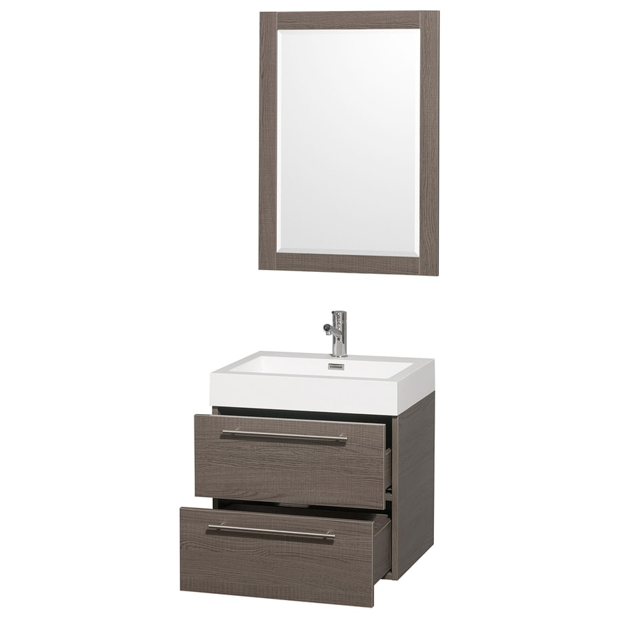 Wyndham Collection Amare Gray Oak 23-in Integral Single Sink Bathroom Vanity with Solid Surface Top (Mirror Included)