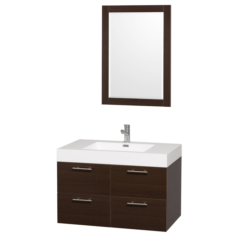 Wyndham Collection Amare Espresso Integrated Single Sink Bathroom Vanity with Solid Surface Top (Common: 35-in x 21-in; Actual: 35-in x 21-in)