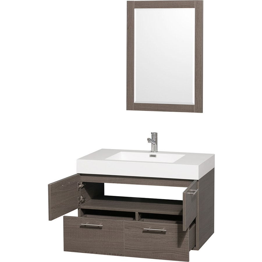 Wyndham Collection Amare Gray Oak 35-in Integral Single Sink Bathroom Vanity with Solid Surface Top (Mirror Included)