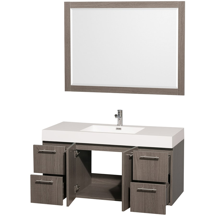 Wyndham Collection Amare Gray Oak (Common: 47-in x 21-in) Integral Single Sink Bathroom Vanity with Solid Surface Top (Mirror Included) (Actual: 47-in x 21-in)