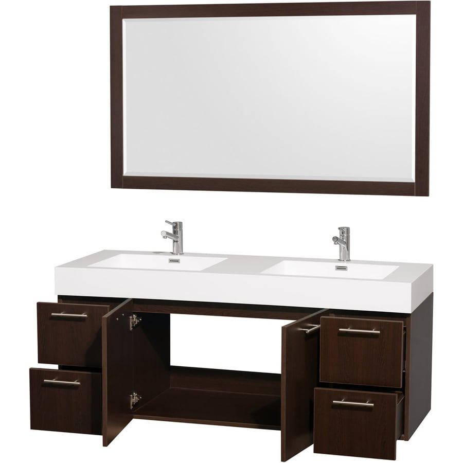 Wyndham Collection Amare Espresso (Common: 60-in x 22-in) Integral Double Sink Bathroom Vanity with Solid Surface Top (Mirror Included) (Actual: 60-in x 21.75-in)