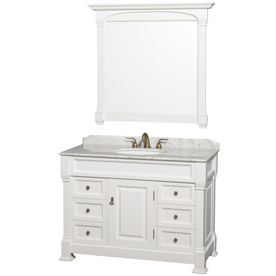 Wyndham collection andover 48 in white single sink - 48 inch white bathroom vanity with top ...