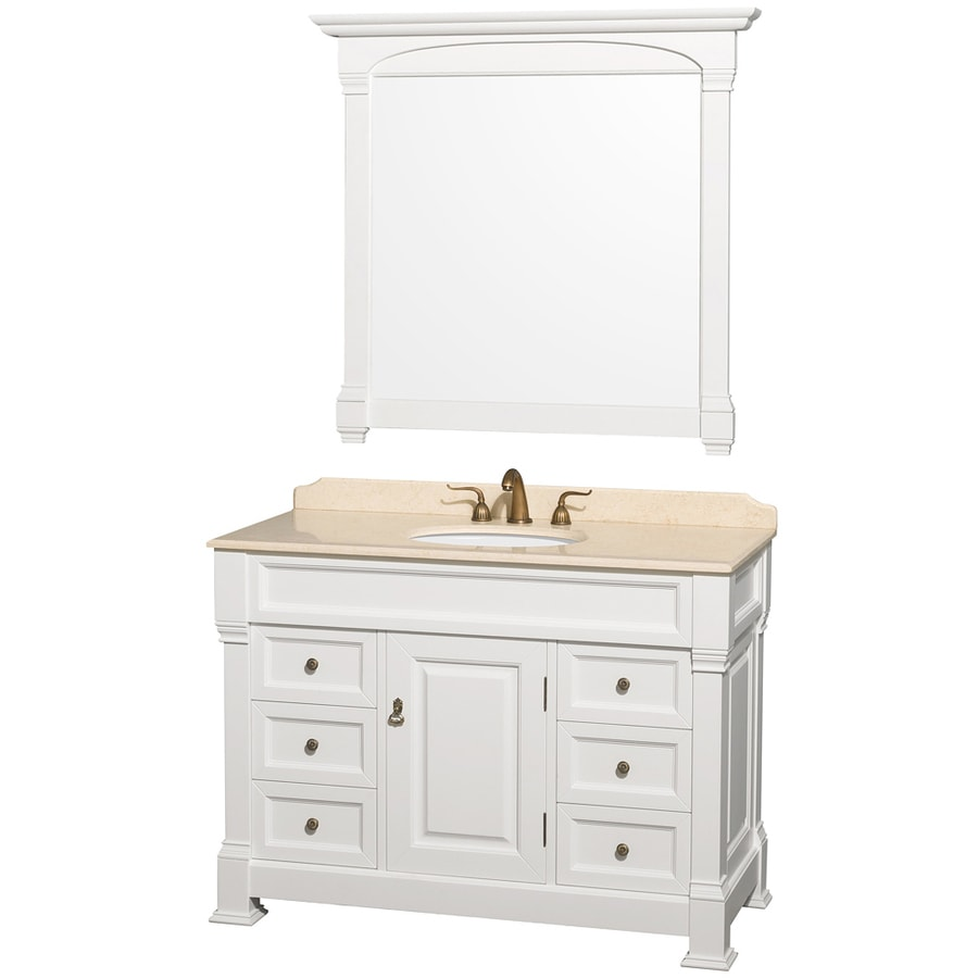 Wyndham Collection Andover White Undermount Single Sink Bathroom Vanity with Natural Marble Top (Common: 48-in x 23-in; Actual: 48-in x 23-in)
