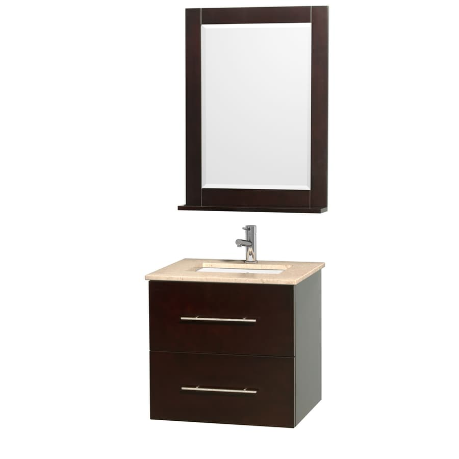 Wyndham Collection Centra Espresso Undermount Single Sink Bathroom Vanity with Natural Marble Top (Common: 24-in x 20-in; Actual: 24-in x 19.5-in)