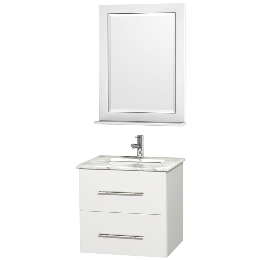 Wyndham Collection Centra White 24-in Undermount Single Sink Oak Bathroom Vanity with Natural Marble Top (Mirror Included)