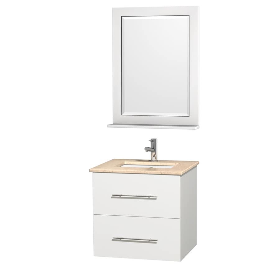 Wyndham Collection Centra White Undermount Single Sink Bathroom Vanity with Natural Marble Top (Common: 24-in x 20-in; Actual: 24-in x 19.5-in)