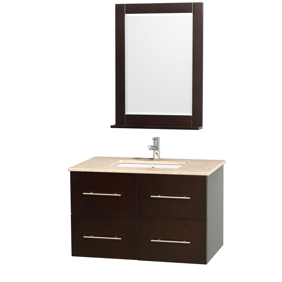 Wyndham Collection Centra Espresso Undermount Single Sink Bathroom Vanity with Natural Marble Top (Common: 36-in x 21.5-in; Actual: 36-in x 21.5-in)