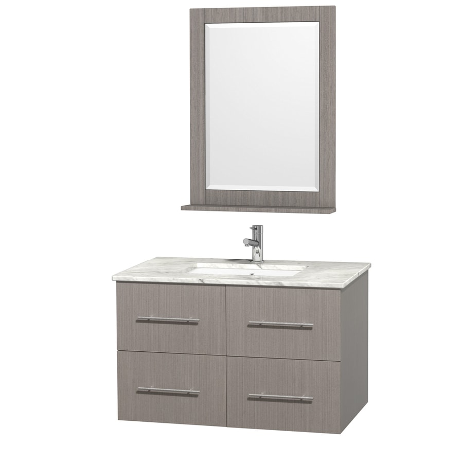 Wyndham Collection Centra Gray Oak (Common: 36-in x 21.5-in) Undermount Single Sink Oak Bathroom Vanity with Natural Marble Top (Mirror Included) (Actual: 36-in x 21.5-in)