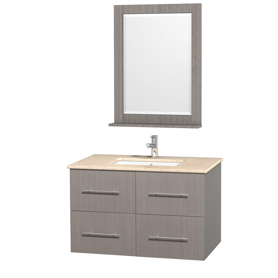 Wyndham Collection Centra Gray Oak Undermount Single Sink Bathroom Vanity with Natural Marble Top (Common: 36-in x 21.5-in; Actual: 36-in x 21.5-in)