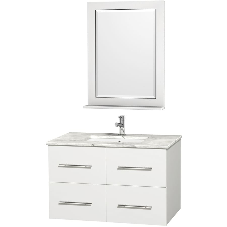 Wyndham Collection Centra White (Common: 36-in x 21.5-in) Undermount Single Sink Oak Bathroom Vanity with Natural Marble Top (Mirror Included) (Actual: 36-in x 21.5-in)