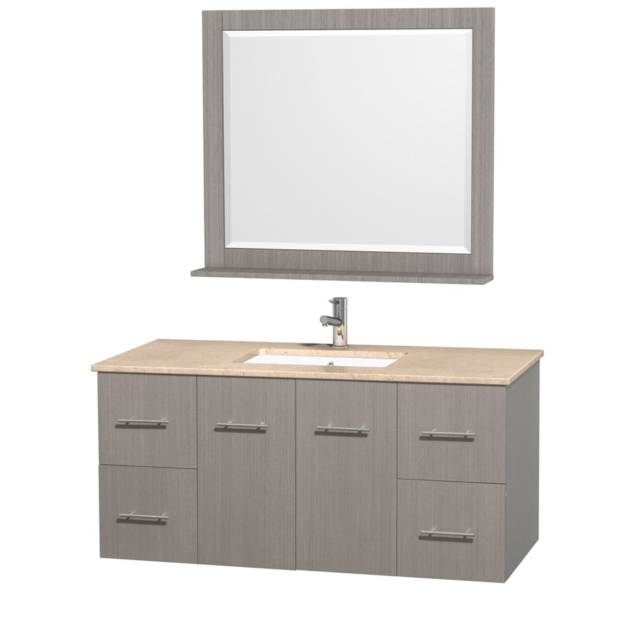 Wyndham Collection Centra Gray Oak 48-in Undermount Single Sink Oak Bathroom Vanity with Natural Marble Top (Mirror Included)