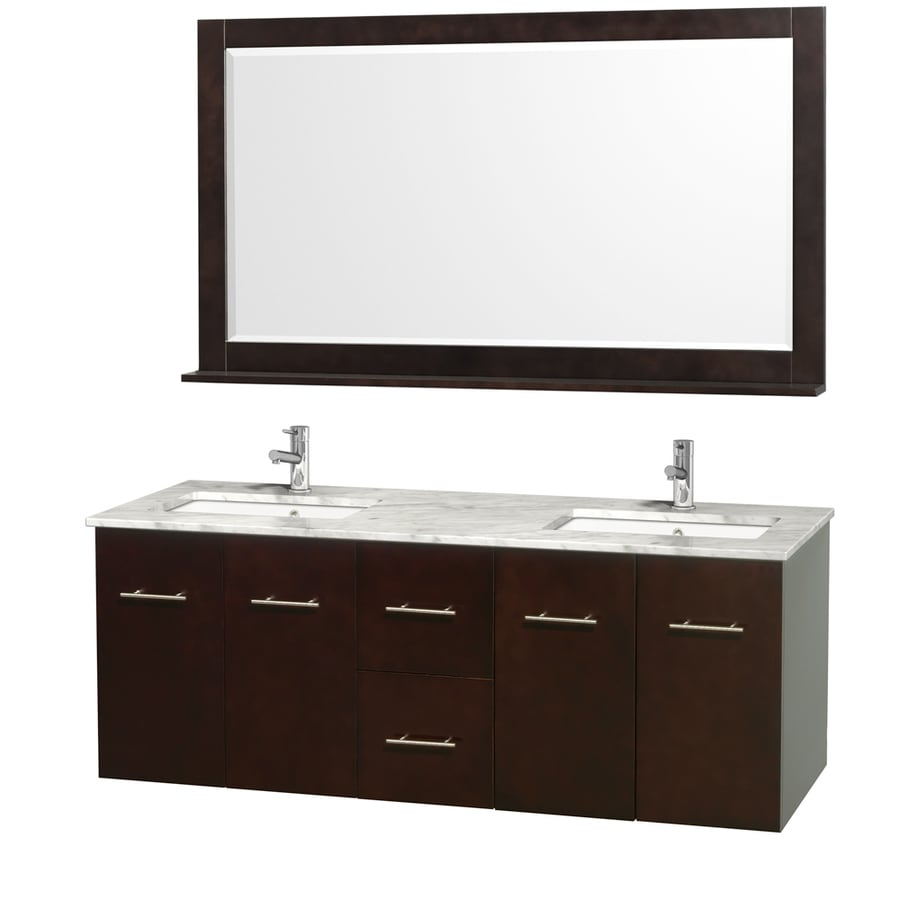 Wyndham Collection Centra Espresso 60-in Undermount Double Sink Oak Bathroom Vanity with Natural Marble Top (Mirror Included)