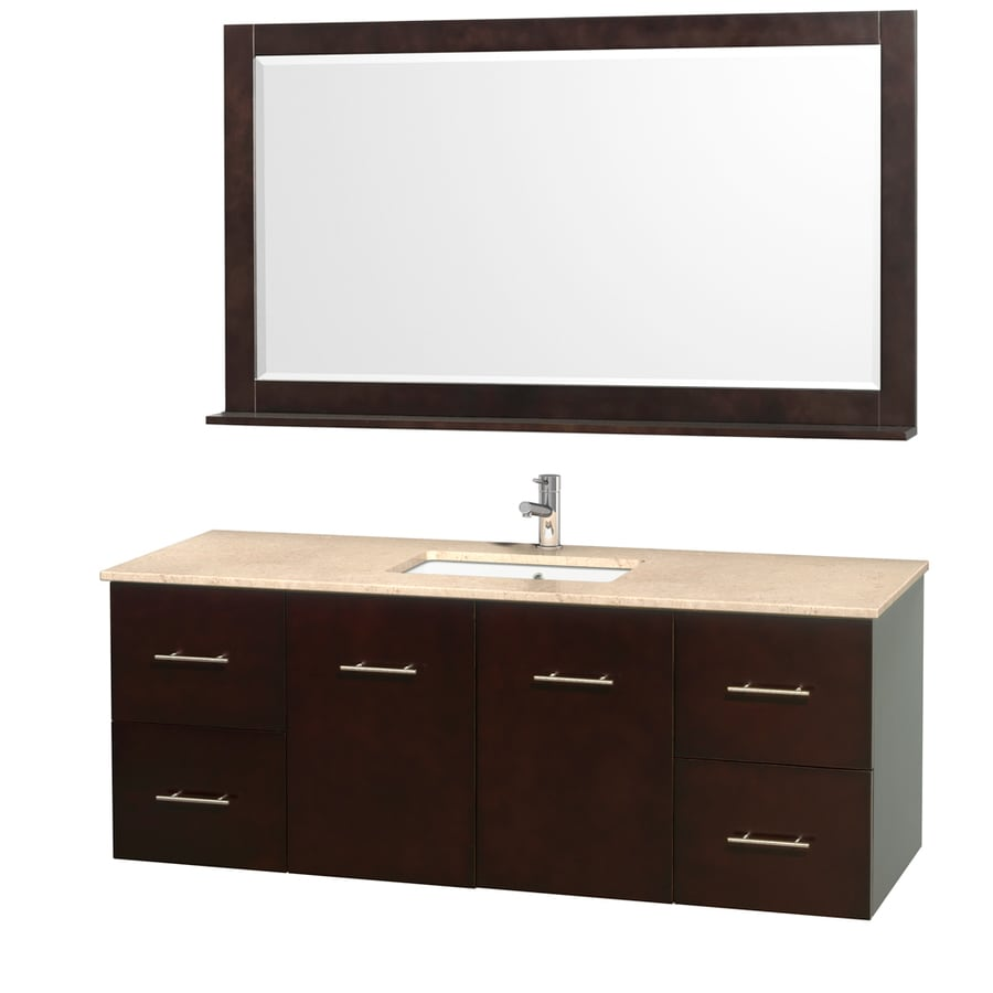 Wyndham Collection Centra Espresso Undermount Single Sink Bathroom Vanity with Natural Marble Top (Common: 60-in x 22.5-in; Actual: 60-in x 22.25-in)