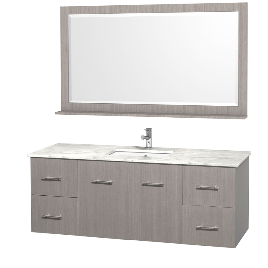 Wyndham Collection Centra Gray Oak 60-in Undermount Single Sink Oak Bathroom Vanity with Natural Marble Top (Mirror Included)