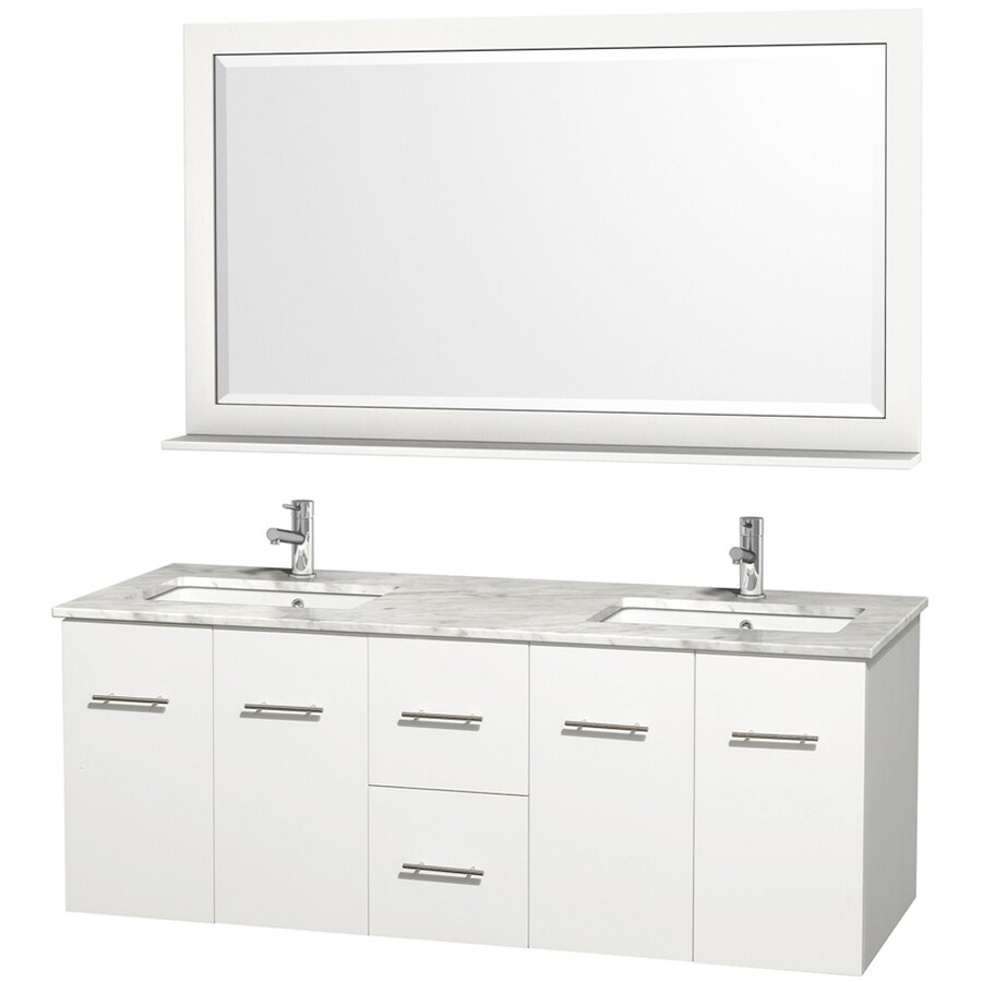 Wyndham Collection Centra White 60-in Undermount Double Sink Oak Bathroom Vanity with Natural Marble Top (Mirror Included)