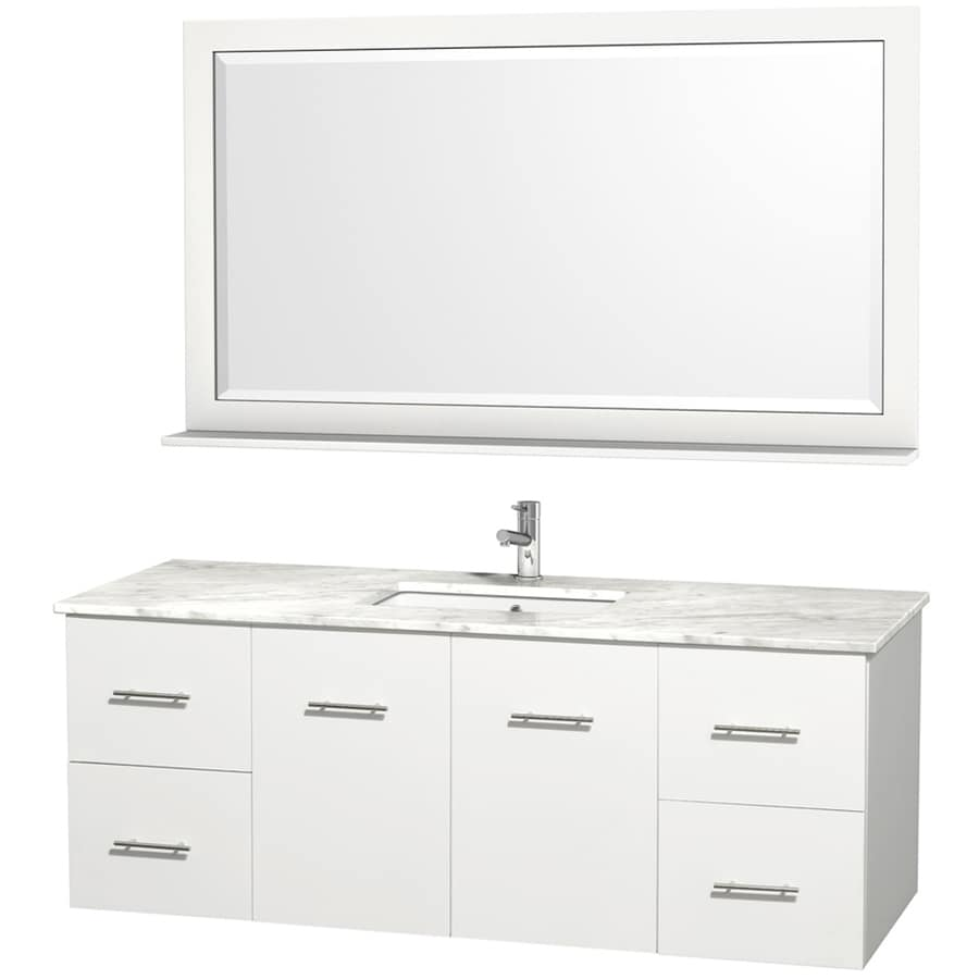 Wyndham Collection Centra White Single Sink Vanity With Carrera Natural Marble Top Common