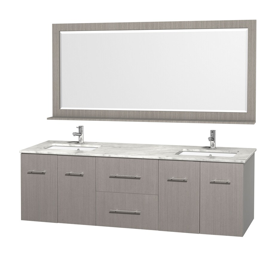 Wyndham Collection Centra Gray Oak Undermount Double Sink Bathroom Vanity with Natural Marble Top (Common: 72-in x 22.5-in; Actual: 72-in x 22.25-in)