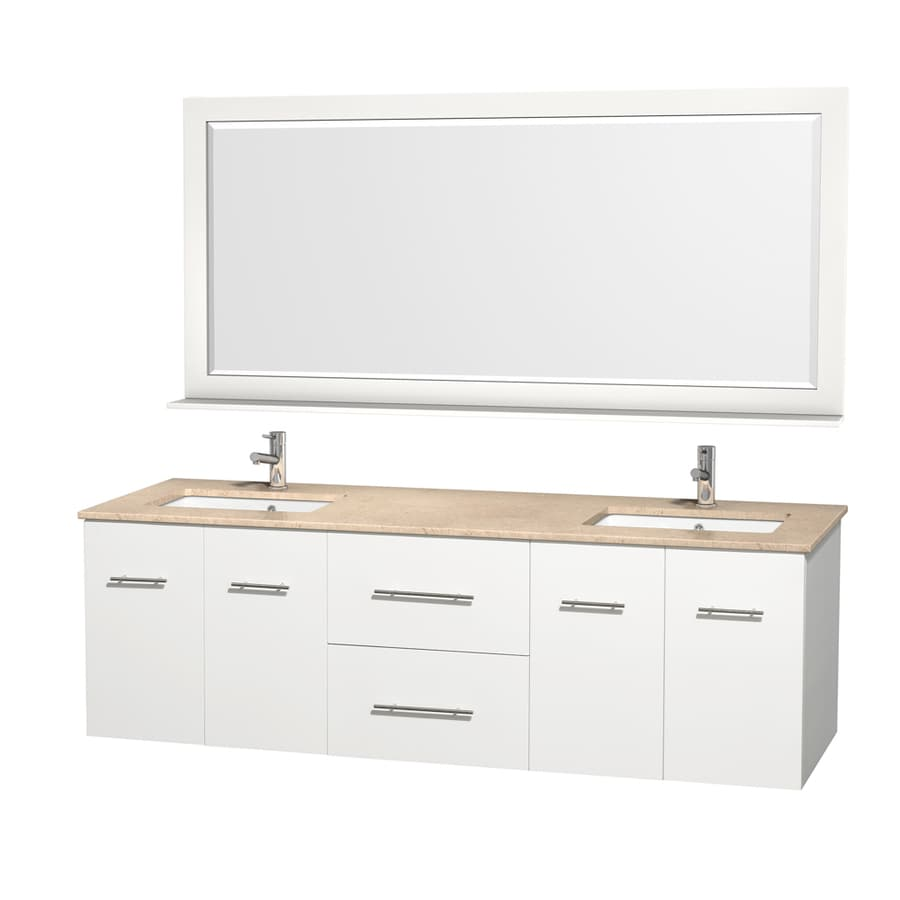 Wyndham Collection Centra White 72-in Undermount Double Sink Oak Bathroom Vanity with Natural Marble Top (Mirror Included)