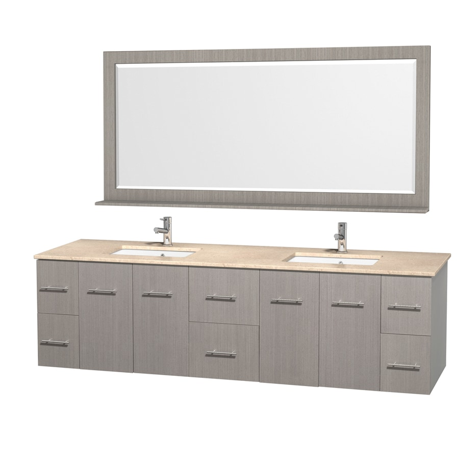 Wyndham Collection Centra Gray Oak Undermount Double Sink Bathroom Vanity with Natural Marble Top (Common: 80-in x 22.5-in; Actual: 80-in x 22.25-in)