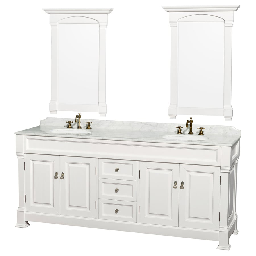 Wyndham Collection Andover White Undermount Double Sink Bathroom Vanity with Natural Marble Top (Common: 80-in x 23-in; Actual: 80-in x 23-in)