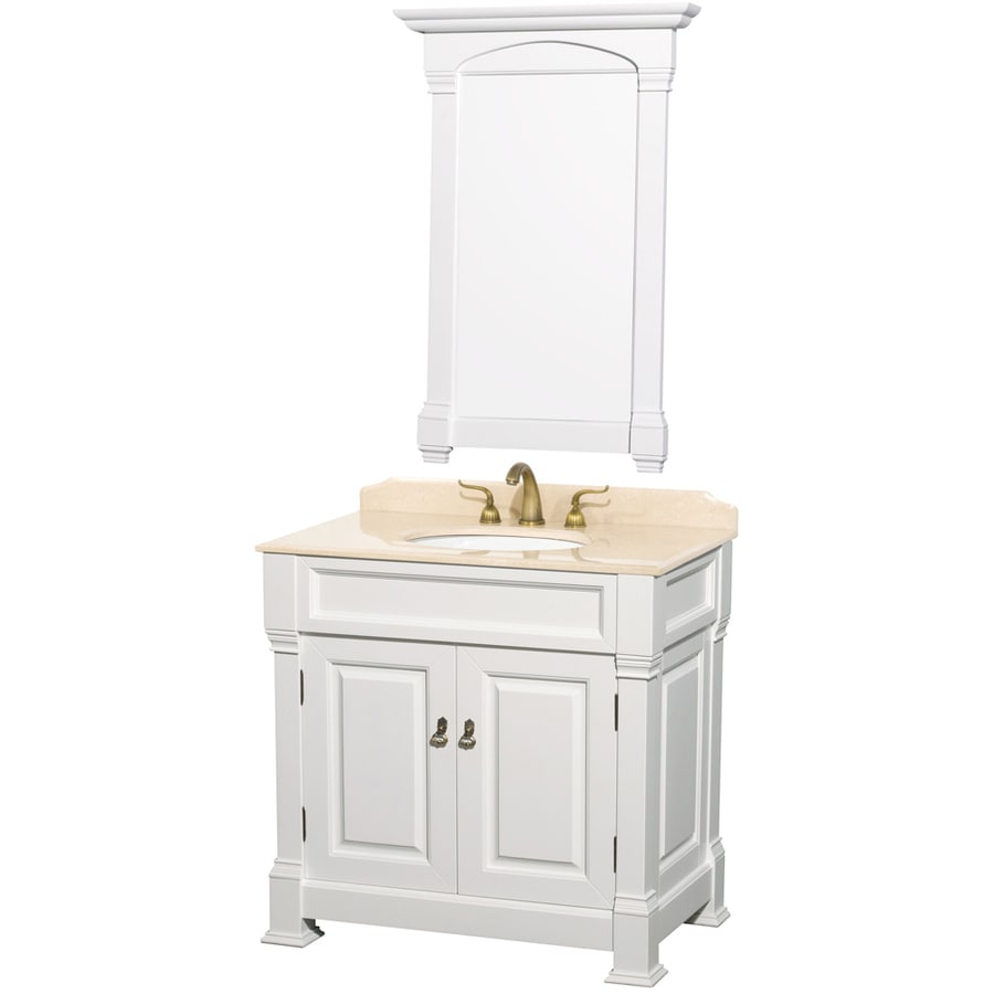 Wyndham Collection Andover White (Common: 36-in x 23-in) Undermount Single Sink Oak Bathroom Vanity with Natural Marble Top (Mirror Included) (Actual: 36-in x 23-in)