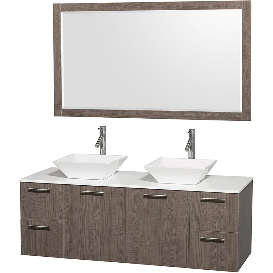 Wyndham Collection Amare Gray Oak Double Vessel Sink Bathroom Vanity with Engineered Stone Top (Common: 60-in x 23-in; Actual: 60-in x 22.25-in)