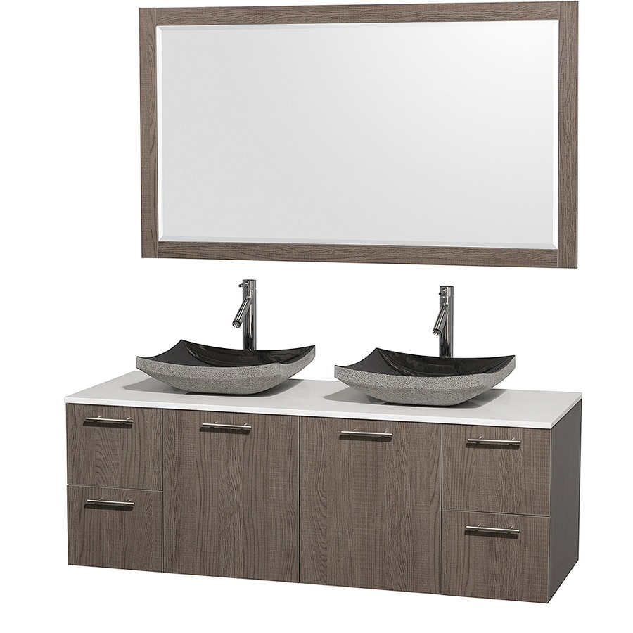Wyndham Collection Amare Grey Oak Double Vessel Sink Bathroom Vanity with Engineered Stone Top (Common: 60-in x 22-in; Actual: 60-in x 22.25-in)
