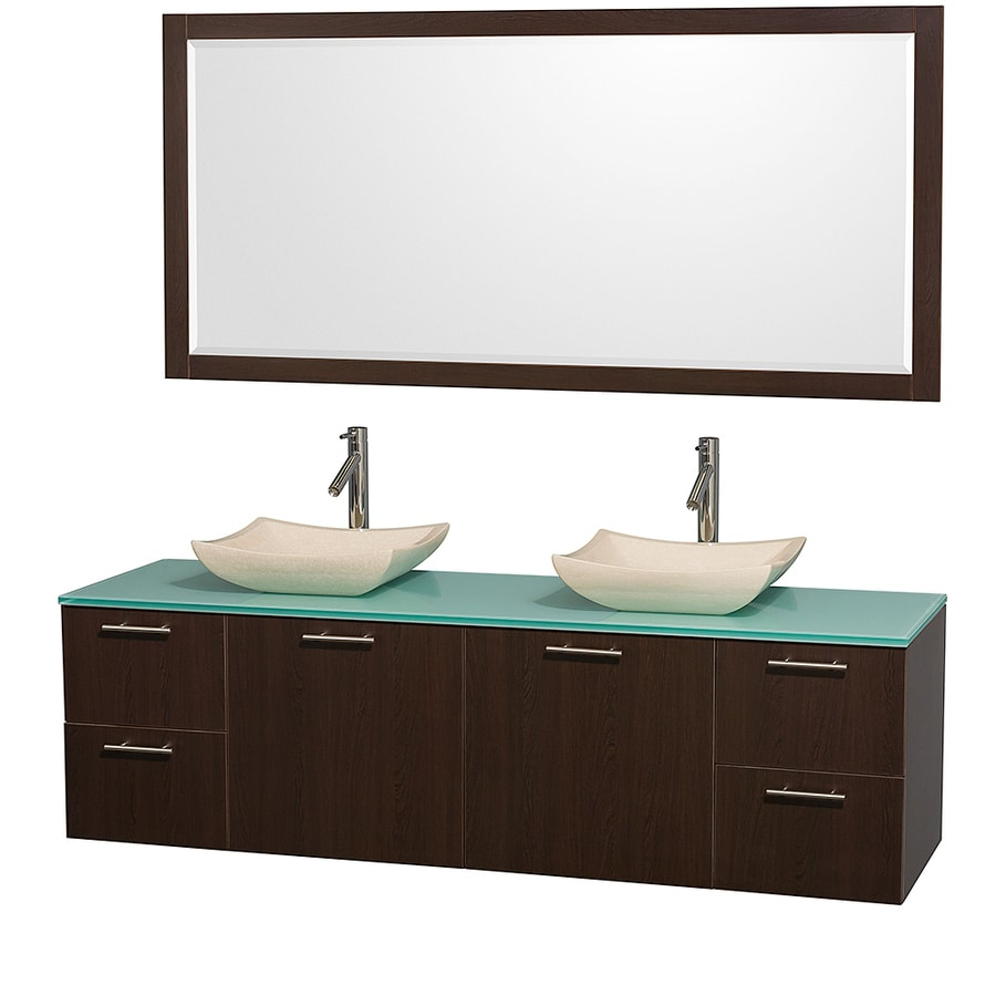 Wyndham Collection Amare Espresso 72-in Vessel Double Sink Bathroom Vanity with Tempered Glass and Glass Top (Mirror Included)