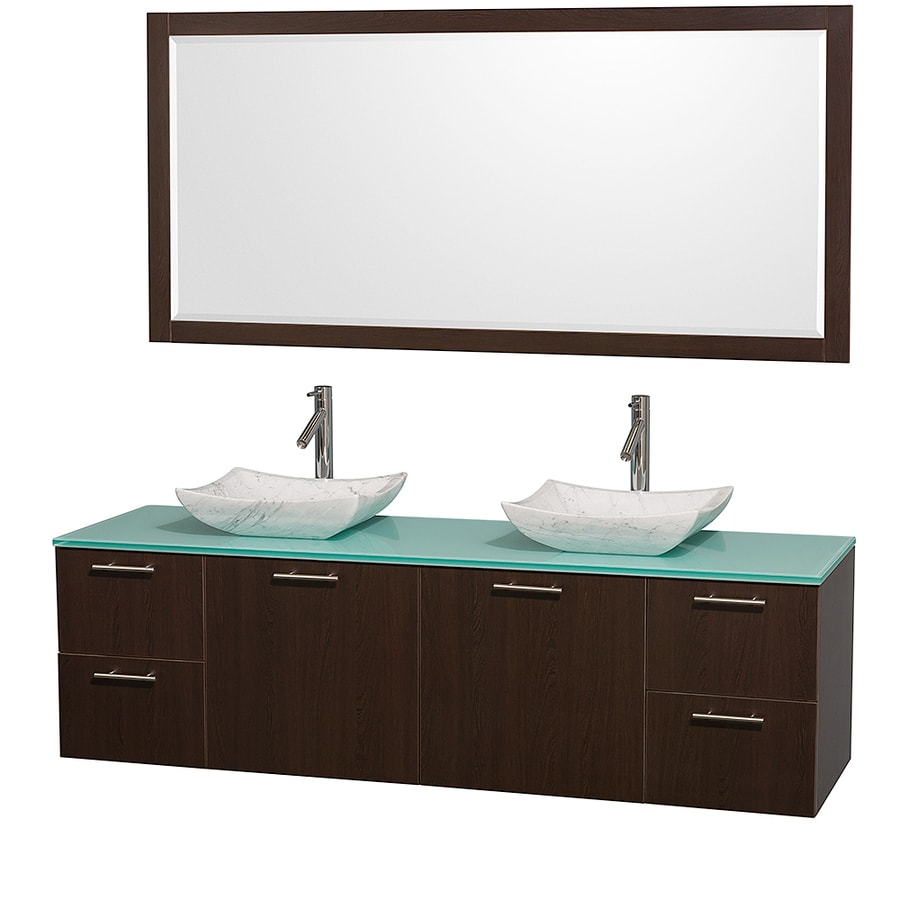 Wyndham Collection Amare Espresso (Common: 72-in x 22-in) Vessel Double Sink Bathroom Vanity with Tempered Glass and Glass Top (Mirror Included) (Actual: 72-in x 22.25-in)
