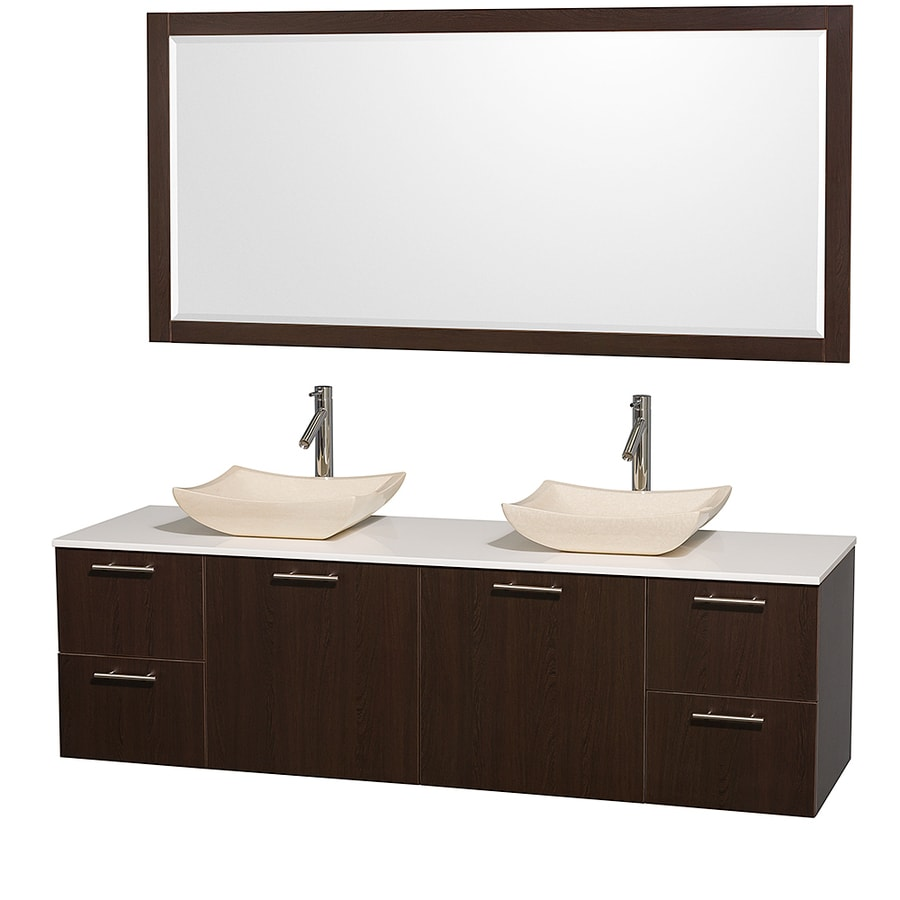 Wyndham Collection Amare Espresso Double Vessel Sink Bathroom Vanity with Engineered Stone Top (Common: 72-in x 22-in; Actual: 72-in x 22.25-in)